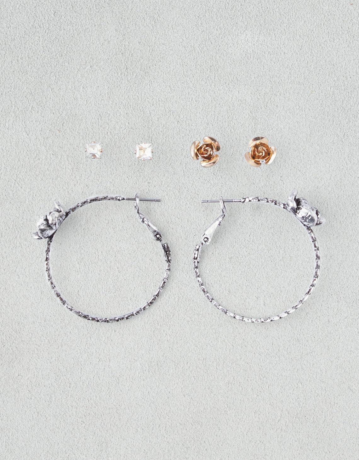 AEO Rose Hoop   Studs 3-Pack Earrings 75d689383