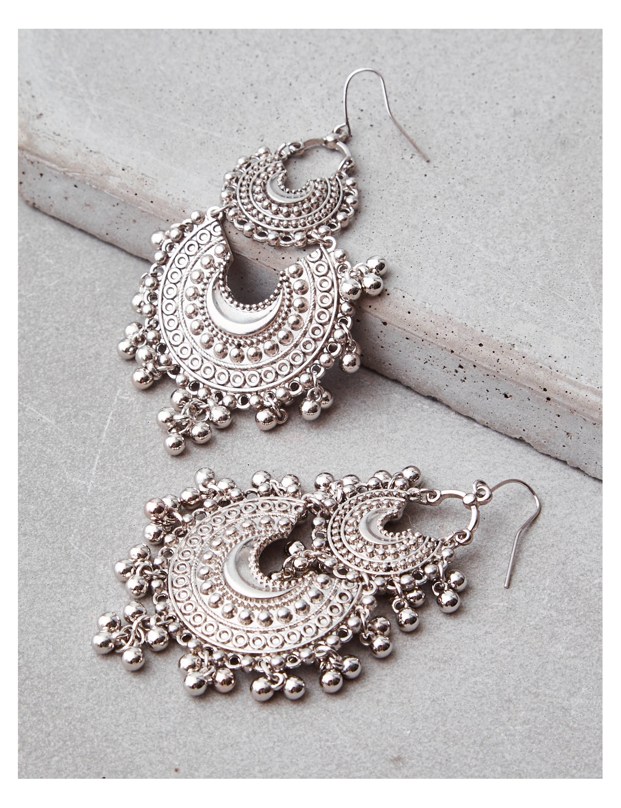 Display product reviews for AEO SILVER 2 TIER BOHO EARRING