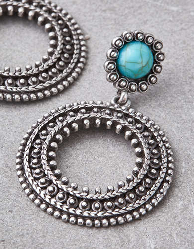 AEO Turquoise Frontal Hoop Earrings -