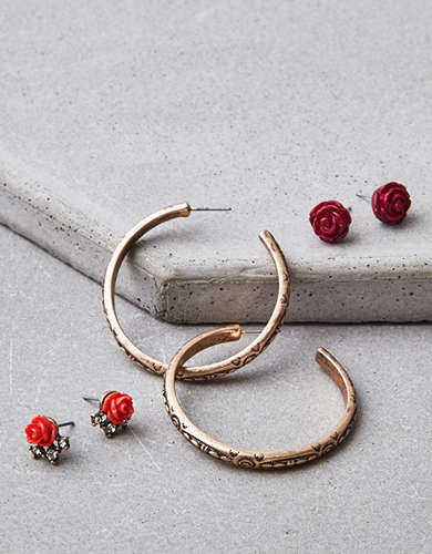 AEO Rose And Gold Stud Hoop Earring Set