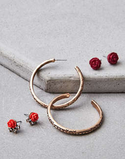 Aeo Rose And Gold Stud Hoop Earring Set by American Eagle Outfitters
