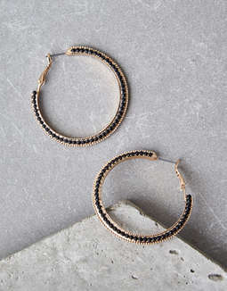 AEO Gold Pavé Hoop Earrings