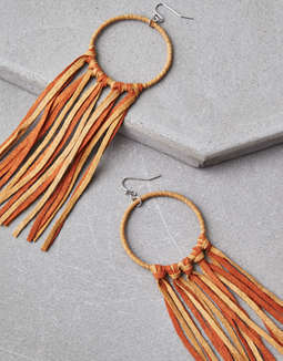Micro Suede Duster Hoop Earrings