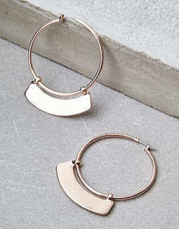 AEO Rose Gold Hoop Plate Earrings