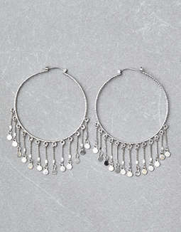 AEO Silver Hoop Duster Earrings