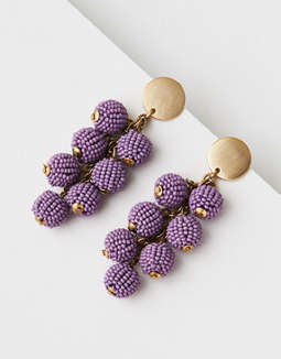AEO Purple Seed Bead Cluster Earring
