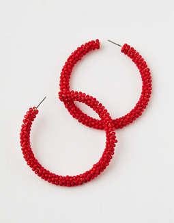 AE Red Seed Bead Hoop Earring
