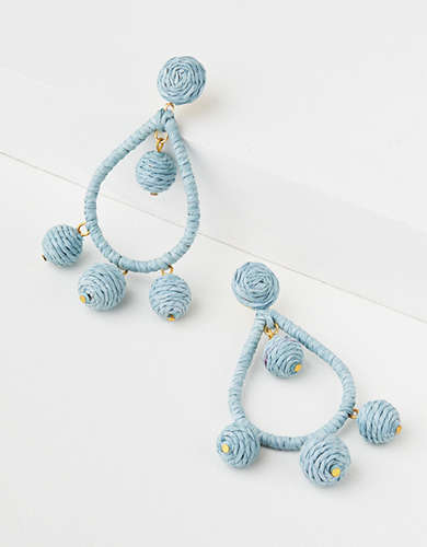 AE Pale Blue Teardrop Raffia Earring -