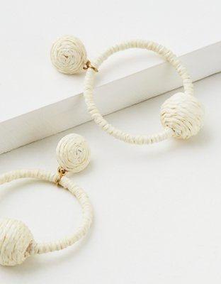 Ae White Raffia Hoop Earring by American Eagle Outfitters