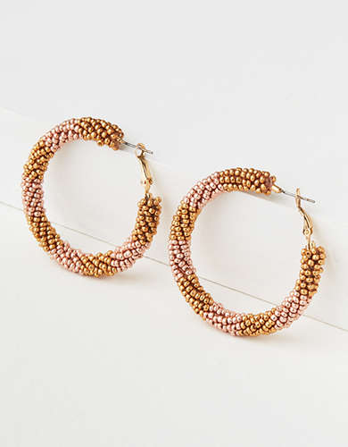 AE Multi Gold Seed Bead Hoop Earring -