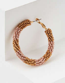 AE Multi Gold Seed Bead Hoop Earring