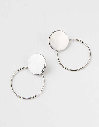 AE Double Frontal Metal Disk Hoop Earring -