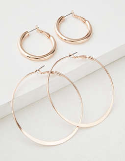 AEO Rose Gold Hoop Earrings 2-Pack