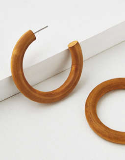 AEO Wood Hoop Earring