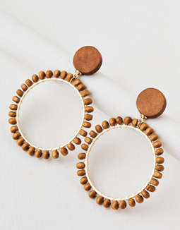 AEO Wooden Beaded Hoop Earring