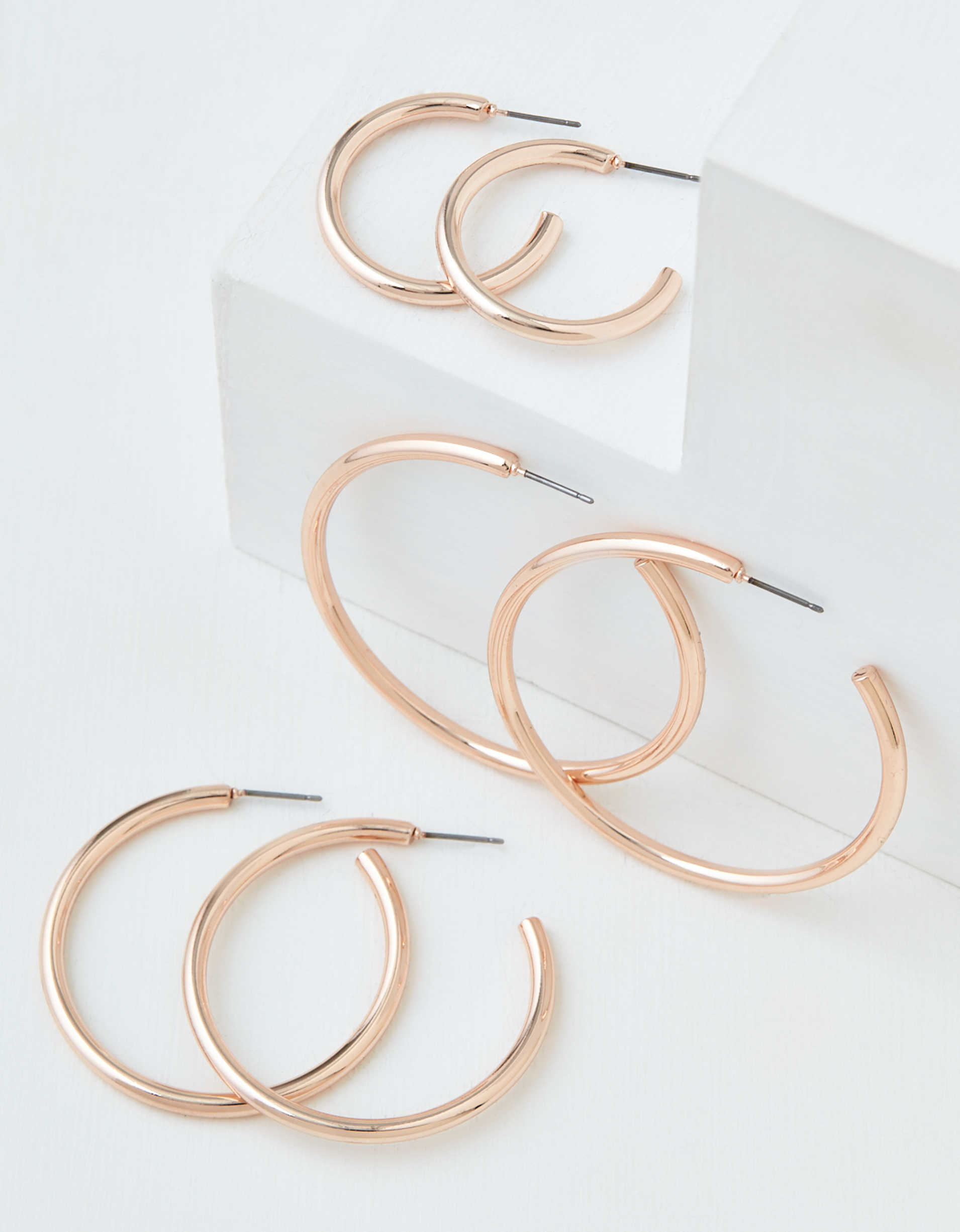 AEO Rose Gold Hoop Earrings 3-Pack