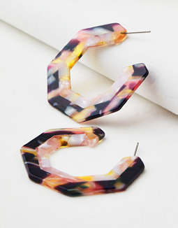 AEO Geo Multi Resin Hoop Earring