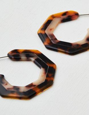 Aeo Geo Tortoise Resin Hoop Earring by American Eagle Outfitters