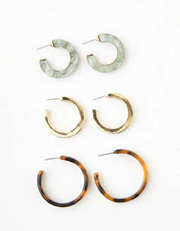 AEO Tortoise Hoop Earrings 3-Pack
