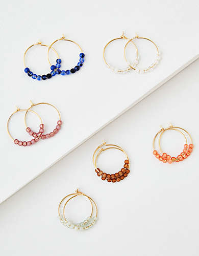 AEO Beaded Hoop Earrings 6-Pack