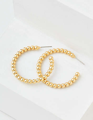 AEO Gold Beaded Hoop Earring
