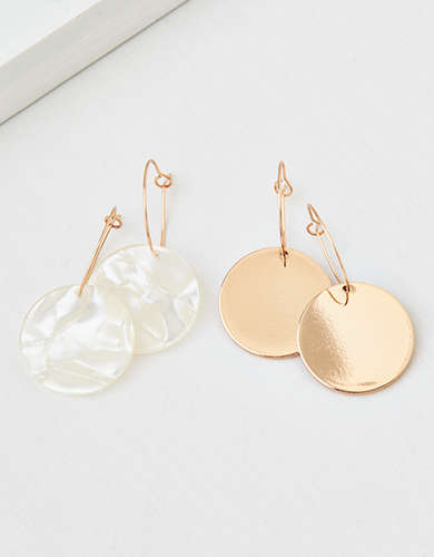 AEO Mini Hoop Disc Earrings 2-Pack