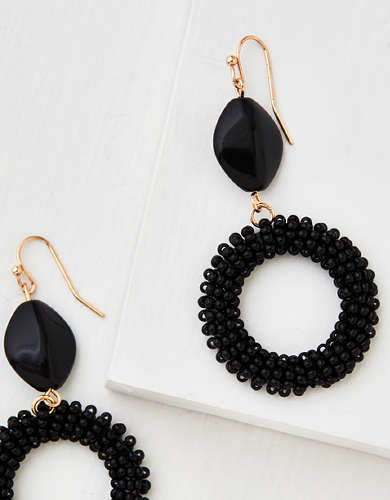AEO Beaded Drop Hoop Earring