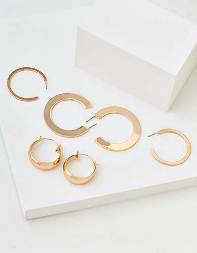 AEO Gold Hoop Earrings 3-Pack