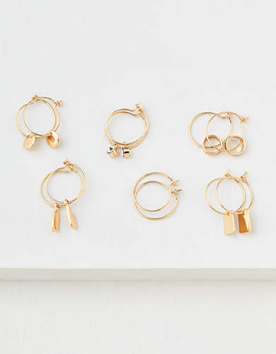 AEO Gold Mini Hoop Earrings 3-Pack