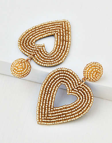AEO Gold Beaded Heart Earring