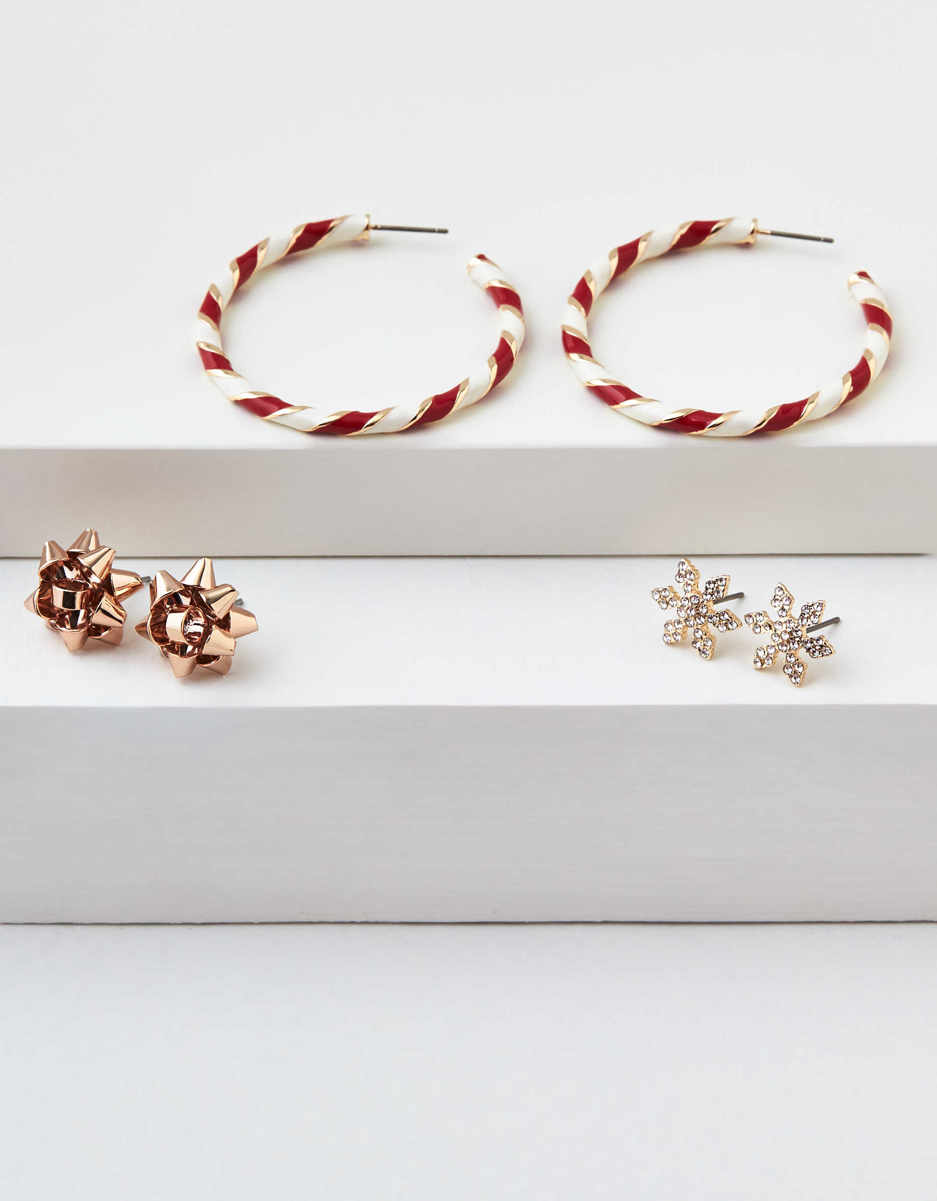 AEO Candy Cane Hoop Earrings 3-Pack