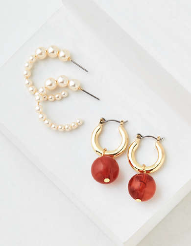 AEO Pearl + Mini Hoop Earrings 2-Pack