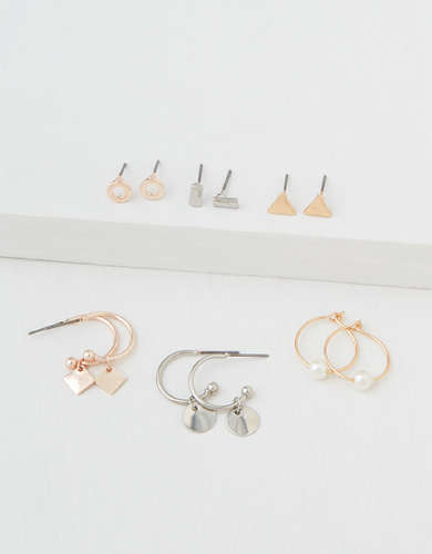 AEO Mini Hoop + Stud Earrings 6-Pack