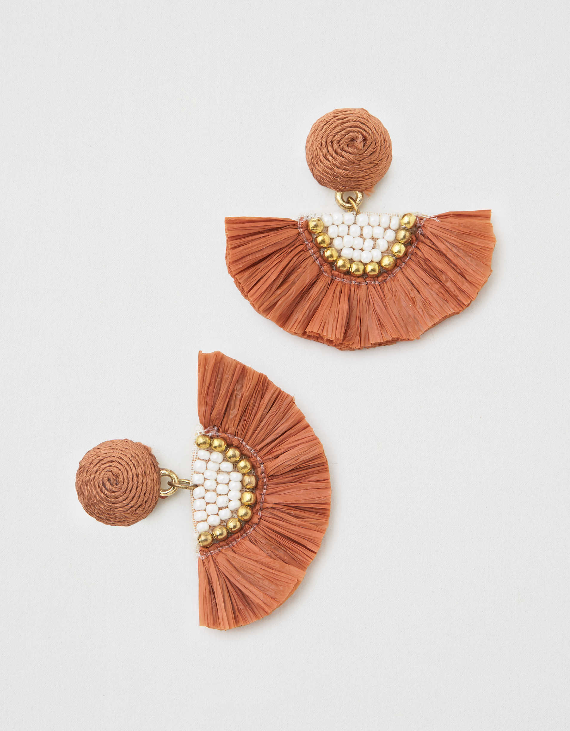 AEO Rust Raffia Tassel Statement Earring