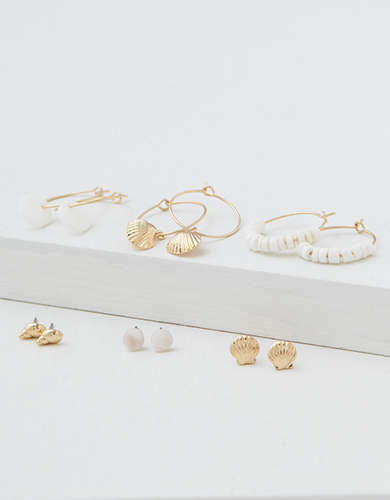 AEO Shell Hoop + Stud Earrings 6-Pack