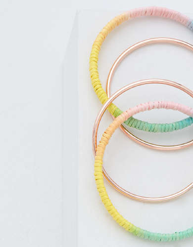 AEO Rose Gold + Rainbow Raffia Hoop Earrings 2-Pack