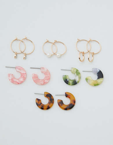 AEO Metal + Resin Hoop Earrings 6-Pack