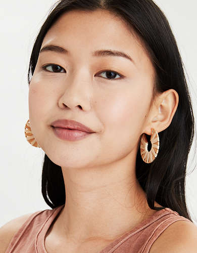 AEO Raffia + Gold Hoop Earrings 2-Pack