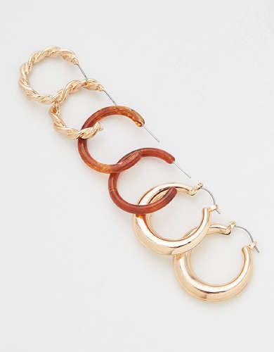 AEO Resin + Gold Hoop Earrings 3-pack
