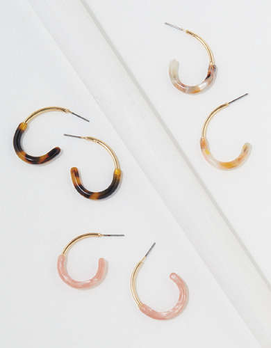 AEO Resin + Metal Hoop Earrings 3-Pack