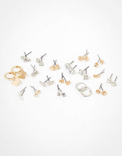 AEO Gold + Pearl Earrings 18-Pack