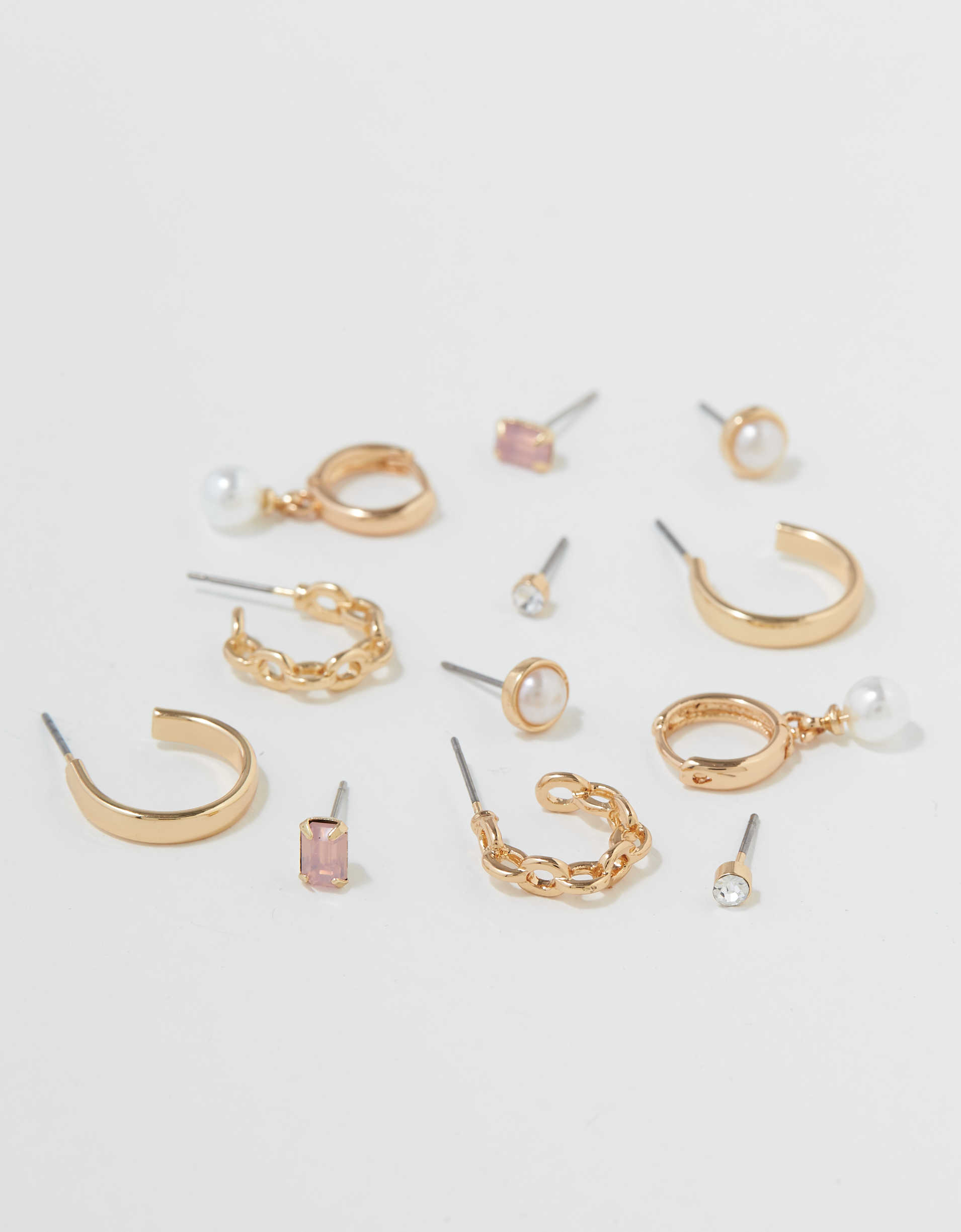 AEO Pearl Stud + Hoop Earrings 6-Pack