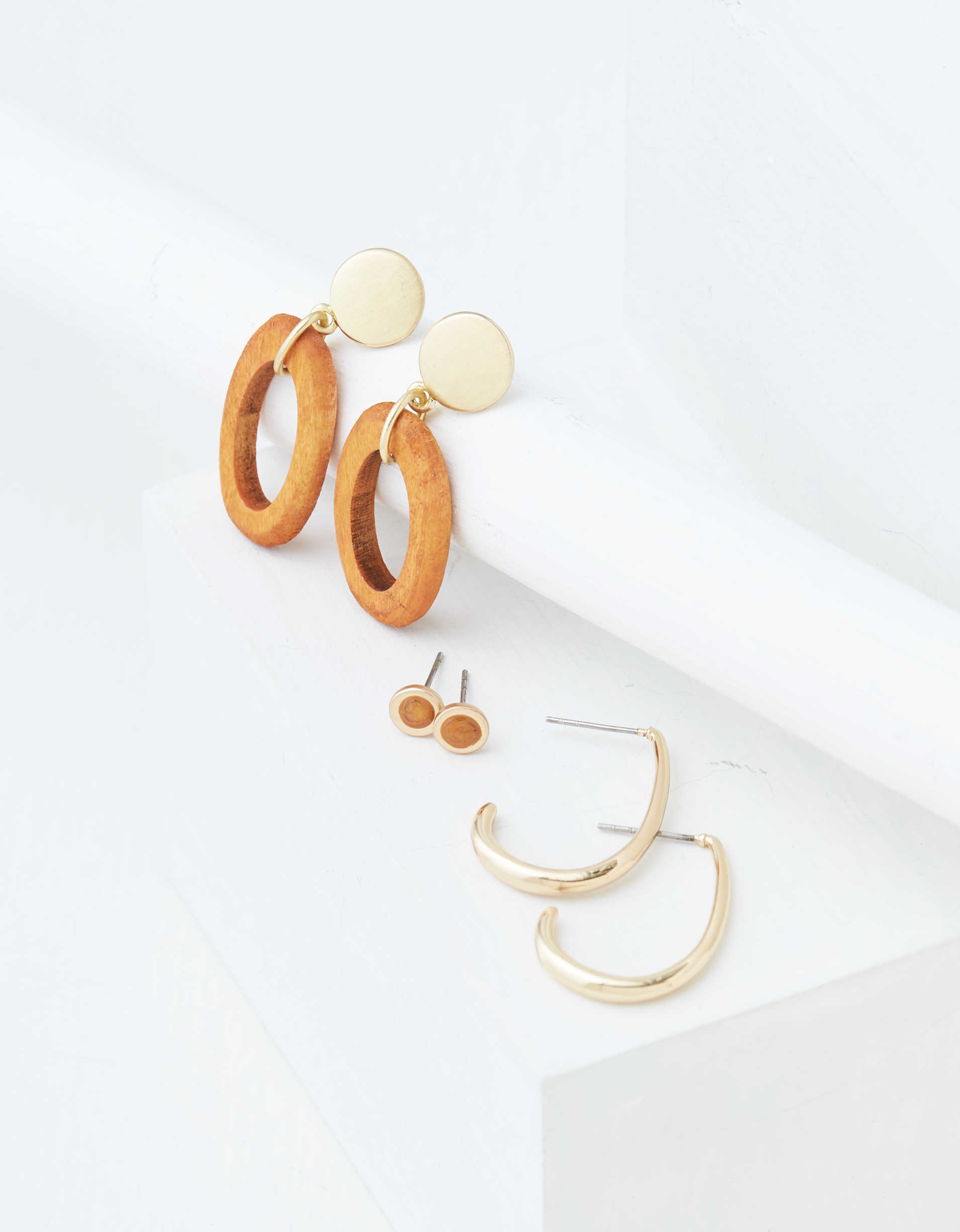 AEO Wood + Gold Earrings 3-Pack