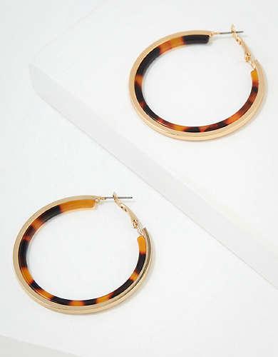AEO Gold + Tortoise Hoop Earring