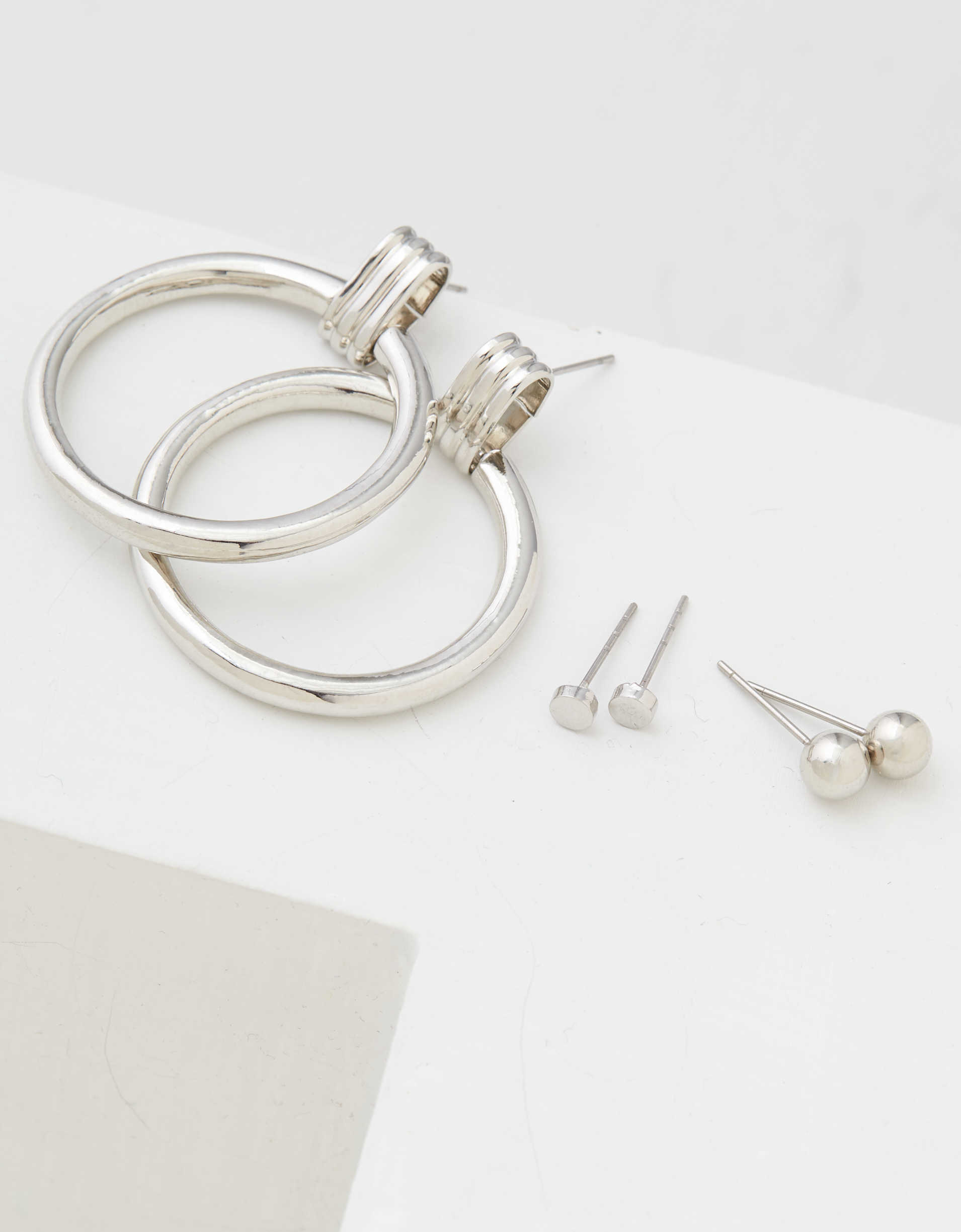 AEO Silver Doorknocker Earrings 3-Pack