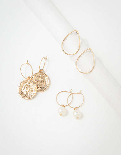AEO Mini Hoop Coin Earrings 3-Pack