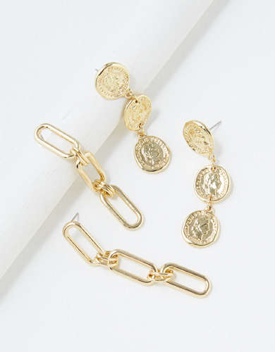 AEO Coin + Chain Earrings 2-Pack