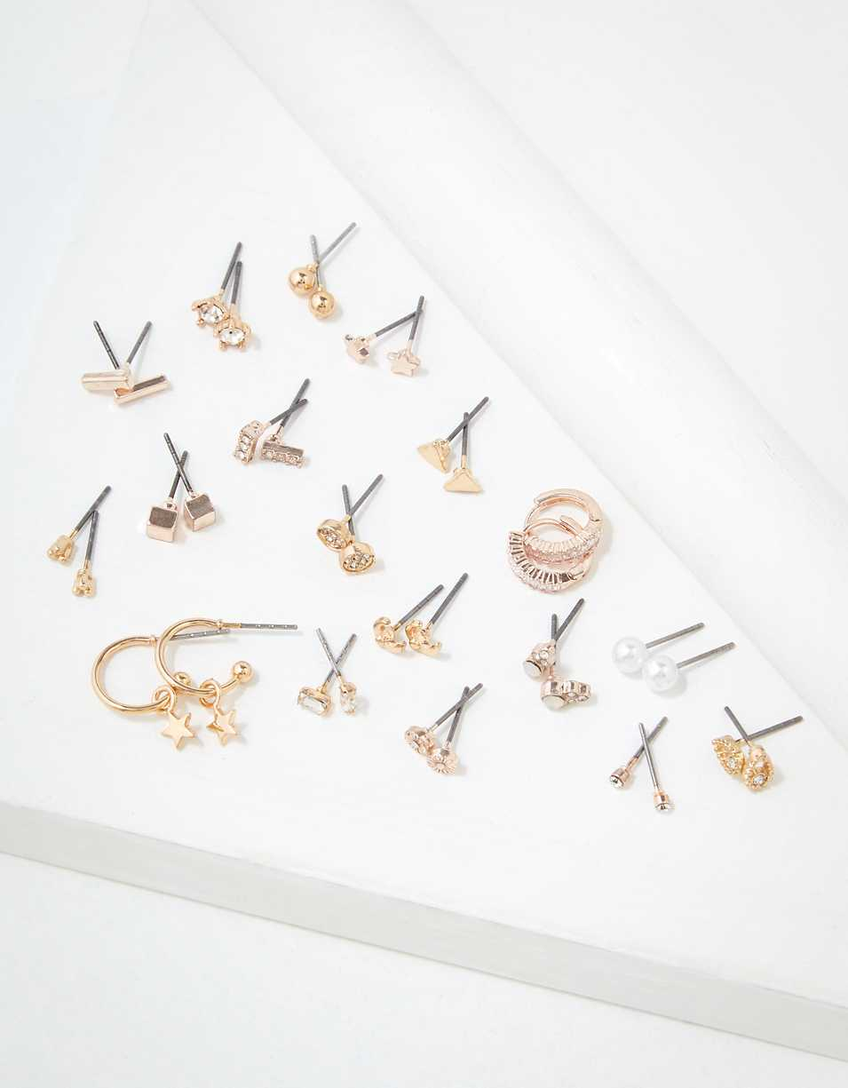 AEO Rose Gold + Gold Stud Earrings 18-Pack