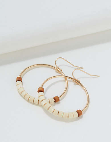 AEO Gold Wood Hoop Earring