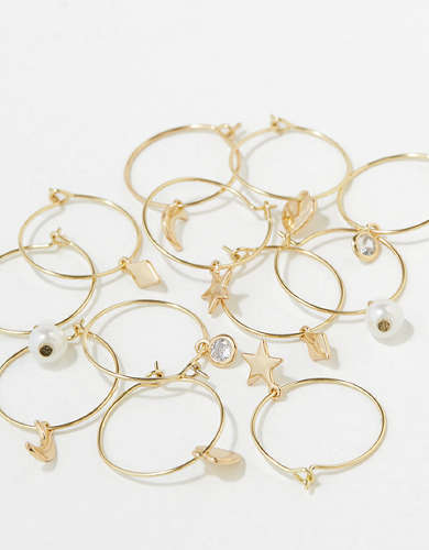 AEO Gold Charm + Hoop Earrings 6-Pack